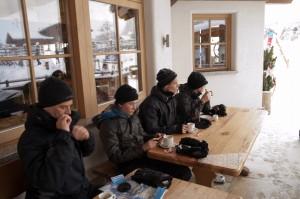 Drinking coffee at a ski hut